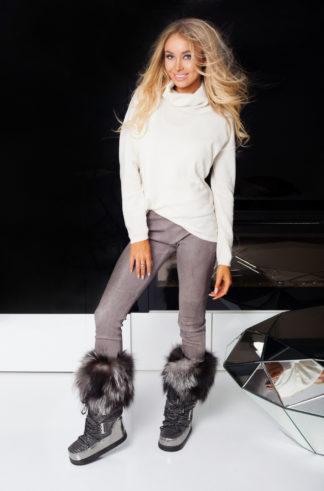 Buty śniegowce - stalowe + obszycie czarno-srebrne