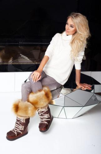 Buty śniegowce - whisky + obszycie Gold Fox